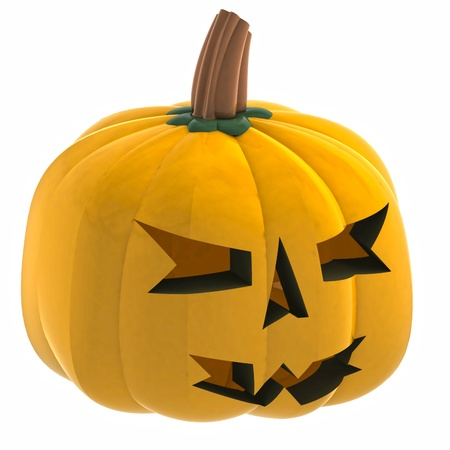 cropped: isometric cropped pumpkin halloween face render illustration