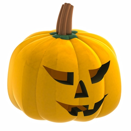 isometric isolated orange pumpkin halloween face render illustration illustration