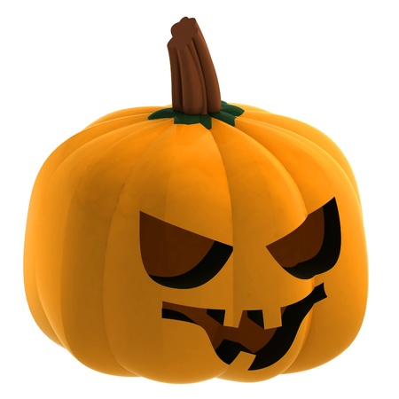 gourds: isometric isolated pumpkin halloween smiling face render illustration