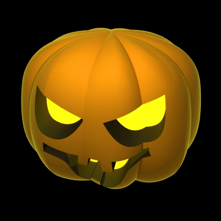 alighted: cropped autumn alighted pumpkin render shaded on black illustration