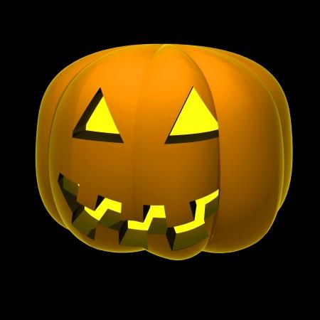 alighted: isolated autumn pumpkin alighted render shaded illustration on black Stock Photo