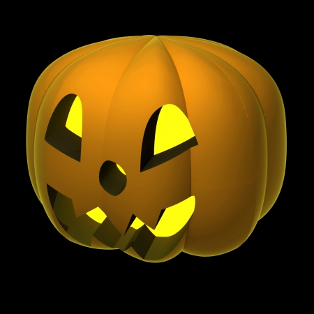 alighted: isolated alighted autumn pumpkin render shaded on black illustration