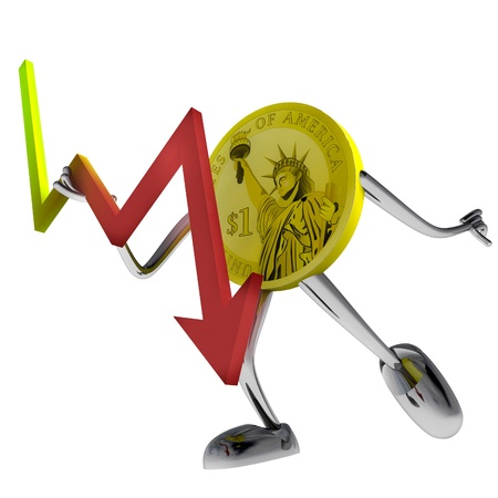 dollar coin robot hold stock shares illustration rendering illustration