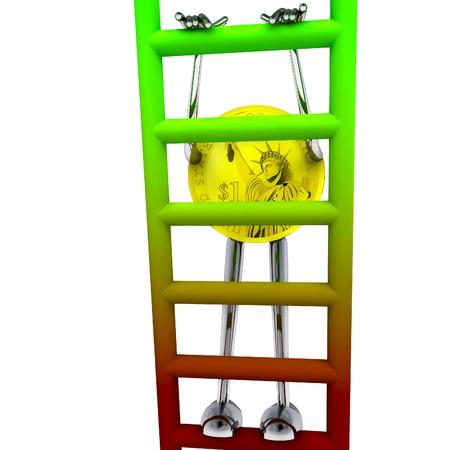 dollar coin robot climbs up on red green ladder rendering illustration Stock Illustration - 15708762