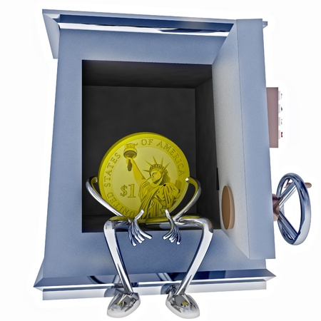 dollar coin standing sitting in vault rendering illustration illustration
