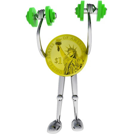 dollar coin strong robot holding dumbbell rendering illustration