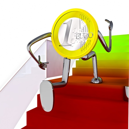 euro coin robot running to the top on stairs illustration rendering Stock Illustration - 15708801