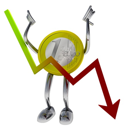euro coin robot let fall economical graph illustration rendering