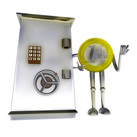 euro coin standing protect bank vault rendering illustration illustration