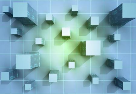 beautiful super modern blue prismatic sustainable city grid background illustration illustration