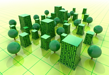 green glasses: beautiful super modern green sustainable city buildings in grid illustration or background