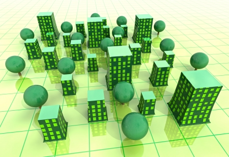 work environment: beautiful super modern green sustainable city grid development background illustration
