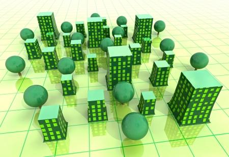 ambiente laboral: hermosa s�per moderno verde grid sostenible desarrollo de la ciudad de ilustraci�n de fondo