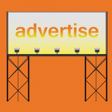 reflectors: billboard advertise showtime editable panel on black construction with several reflectors shinning on it vector illustration