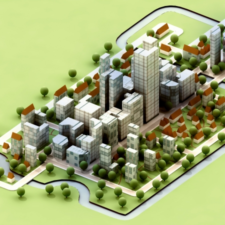 expansion: landscape of new sustainable city concept development illustration perspective render illustration