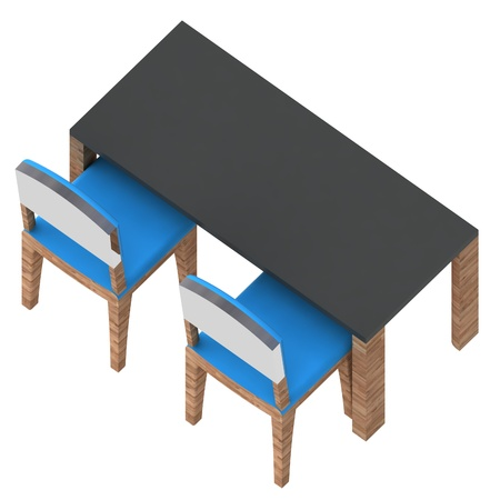 isolated school classroom workplace table and two blue wooden chairs in isometric back view illustration illustration