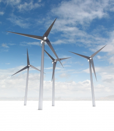 windfarm: wind power energy concept on blue cloudy skyground