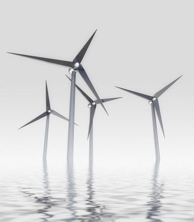 generate: lonely wind mill energy concept in ocean mist generate powerrender illustration