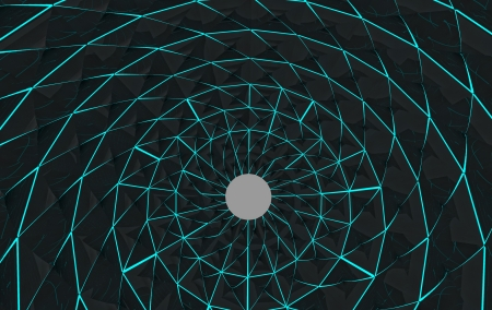shining lines on abstract architectural three dimensional radial shape background illustration Stock Illustration - 15709859