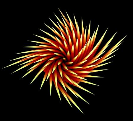 isolated wonderful three dimensional spiky swirl shape futuristic backdrop on black Stock Photo - 15709781