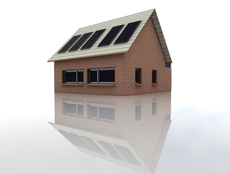 isolated new brick facade house picture angle view perspective on roof solar panels and floor reflection render illustration illustration