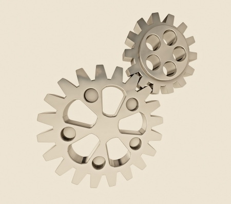 driven: two metallic cogwheels driven in retro feeling background illustration Stock Photo