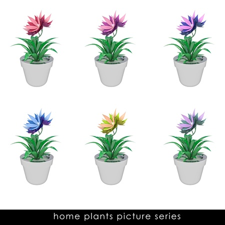 cropped: six isolated cropped colorful houseplants  in chrome metallic flowerpot design illustration Stock Photo
