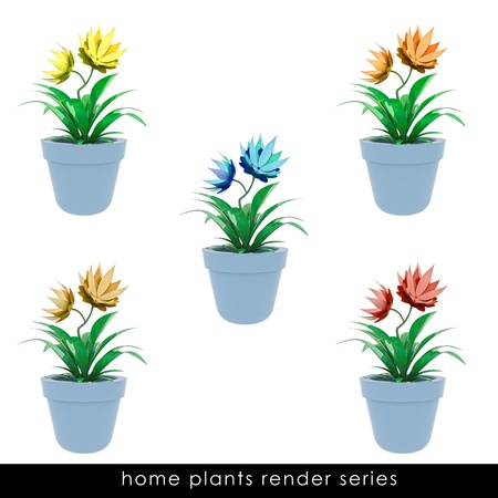 houseplants: isolated cropped colorful houseplants  in chrome metallic flowerpot design illustration