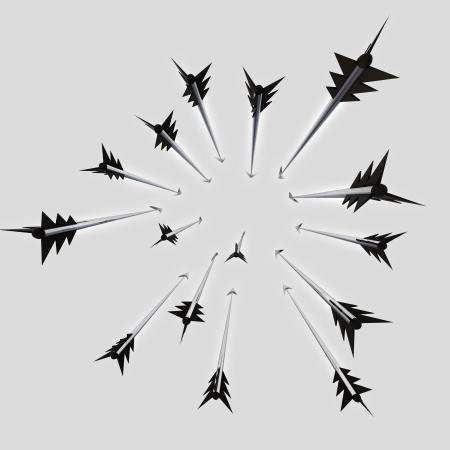 Flying metallic  darts and arrows radial composition  illustration illustration