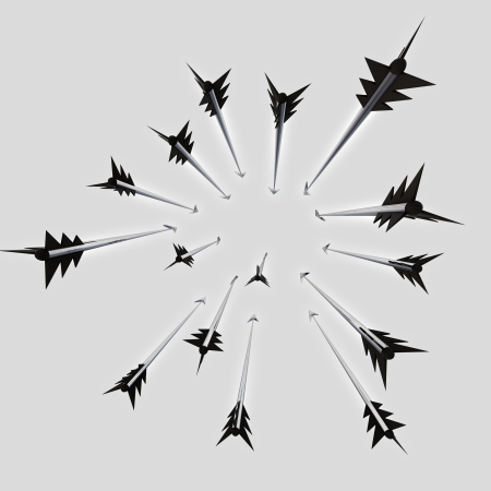 darts flying: Flying metallic  darts and arrows radial composition  illustration