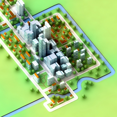landscape bird view on new sustainable city concept development illustration perspective render illustration Stock Illustration - 15709865