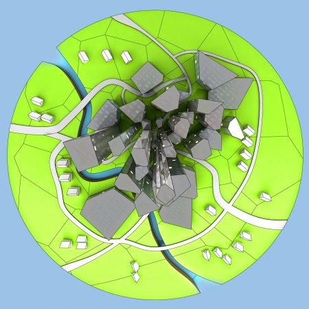 beautiful super modern sustainable island city dedevelopment unit cityscape perspective illustration Stock Illustration - 15709785