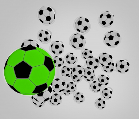 group of football balls on grey with one green background illustrations illustration