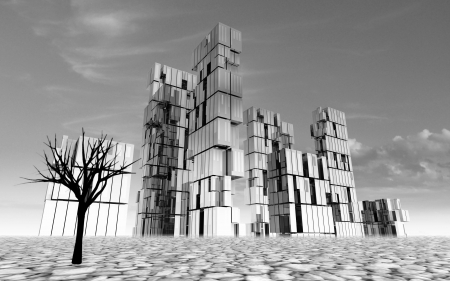 abandoned: abandoned city black and white design concept in desert with dead tree render illustration