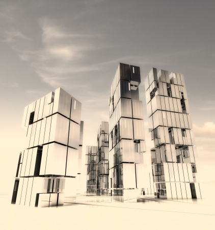 wasteland: skyscraper city design in desert sand storm render illustration