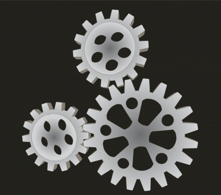 three metallic cogwheels driven and powered by green energy isolated on grey background vector photo