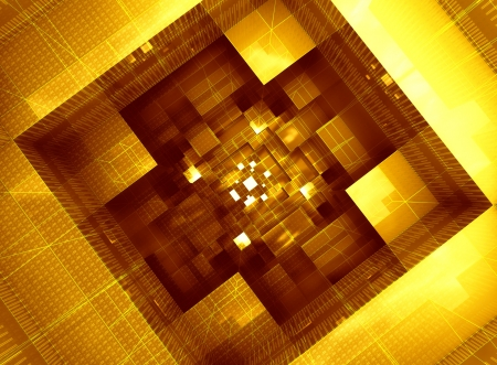 three dimensional background: abstract space inside computer with electronic system in yellow orange architecture form three dimensional background wallpaper