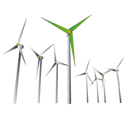 isolated green wind energy powerful system vector illustration illustration