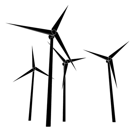 wind mill: isolated wind power energy silhouettes vector illustration Stock Photo