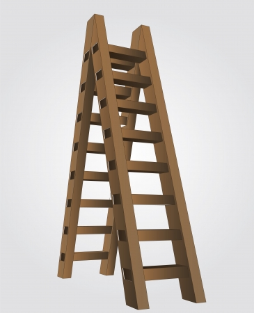 brown wooden ladder as concept steps of growth vector perspective view illustration illustration