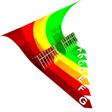 isolated top rated energy concept of new building on wave colorful render illustration Stock Illustration - 15726456