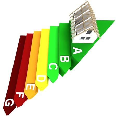 isolé concept de haut énergie nominale d'un nouveau bâtiment dans les escaliers rendre illustration
