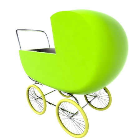 isolated green baby-carriage perspective postcard render illustration illustration