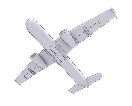 isolated travel airplane flight concept  in perspective down view on white background render illustration Stock Illustration - 15726386