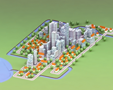 housing development: landscape general view on new sustainable city concept development illustration perspective render illustration