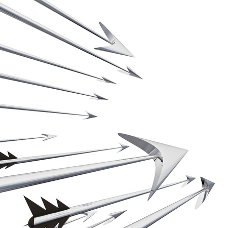 darts flying: Flying metallic  darts and arrows closeup illustration Stock Photo
