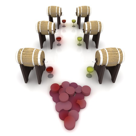 corridor with barrels of wine and glasses and grapes symbol render illustration illustration