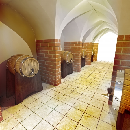 barrels of alcohol drink underground cellar render illustration illustration