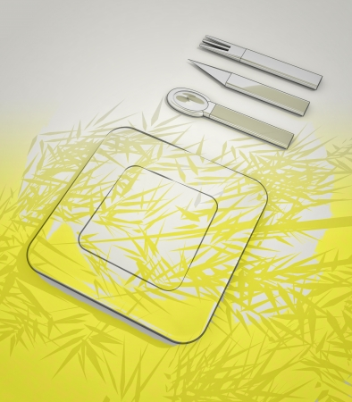 steel cutlery and plate on the table with yellow light render illustration illustration