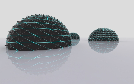 epidemics: abstract 3D shapes as three half spiky spheres composition background